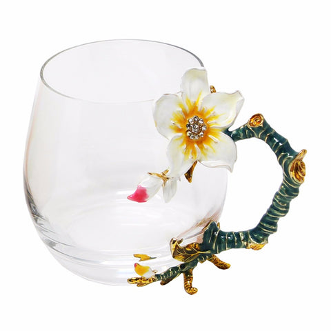 Novelty Glass Cups with Flower Enamel Handles