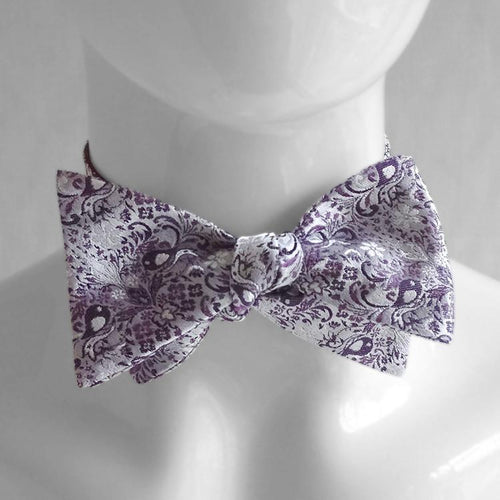Ashley Vintage • Lilac Silver • Jacquard Weave Silk Bow • Untied