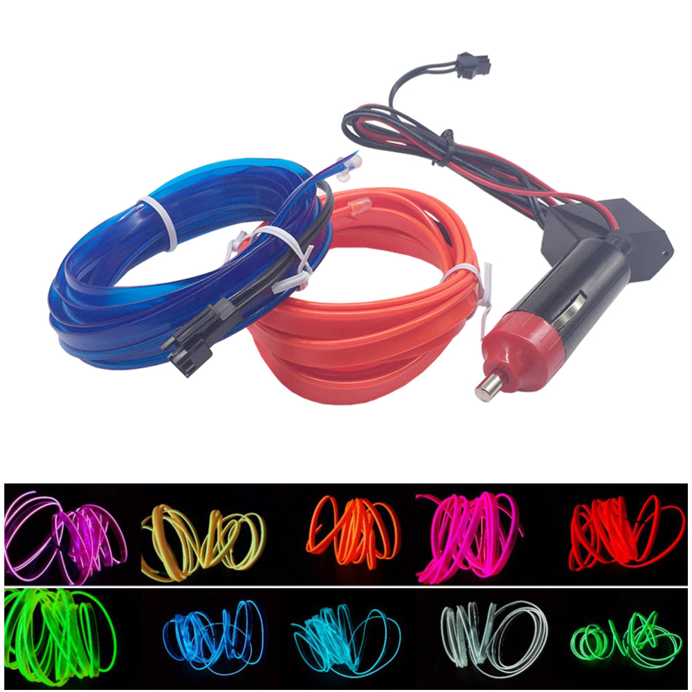 2m Neon Light Auto Car Decor Lamp Flexible El Wire Wiring A Rope Tube Waterproof