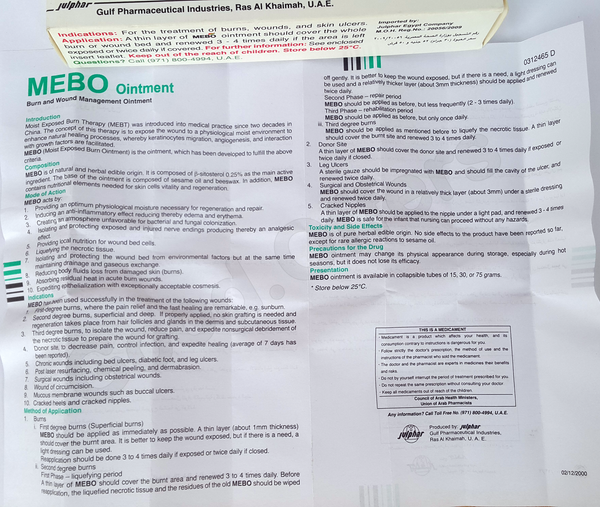 Mebo Cream Herbal Natural 75 Gm Ointment Burns Wounds Skin Ulcers