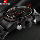 NAVIFORCE Sport Watch Men Stainless Steel Analog Digit LED Waterproof Quartz Watch Clock
