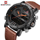 Men Leather Sports Watches NAVIFORCE  Quartz Digital Clock Waterproof Military Watch