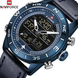 NAVIFORCE Men Fashion Sport Watch Quartz Digital Leather Military Wrist Watch
