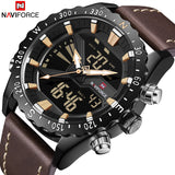NAVIFORCE Men Military Analog Digital Sport  Watch Leather Waterproof
