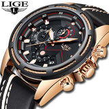 LIGE Fashion Sport Quartz Leather Men Watches Gold military Waterproof Watch