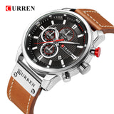 CURREN  Men Military Sport Watches Men's Quartz  Leather Strap Waterproof