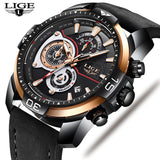LIGE Mens Watches  Luxury Business Leather Watch Men Military Waterproof
