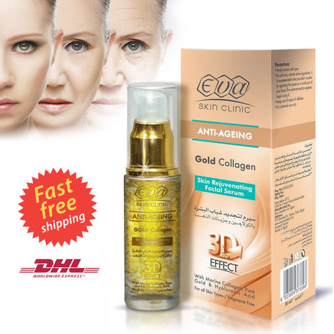 EVA Anti Aging Gold Collagen Skin Rejuvenating Facial Serum, 3D Effect, 30 ml