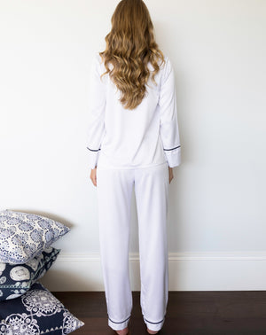 Classic Monogram Pyjama Set - White with Navy Trim