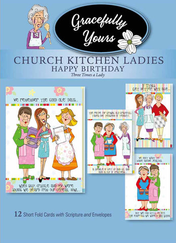 Church Kitchen Ladies Three Times a Lady Birthday (12 ct) - GY-141