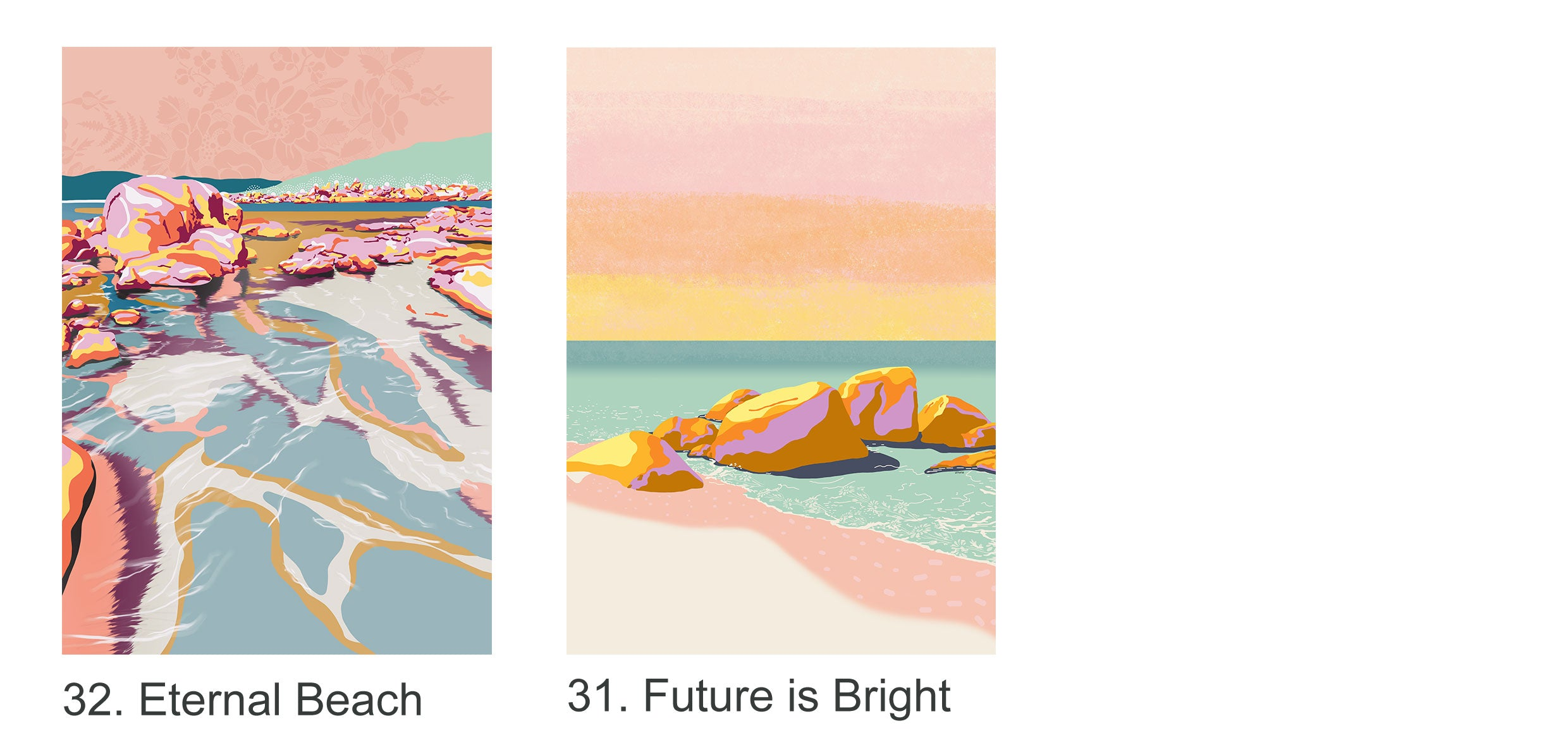 Colourful beach illustrated A4 prints for wholesale