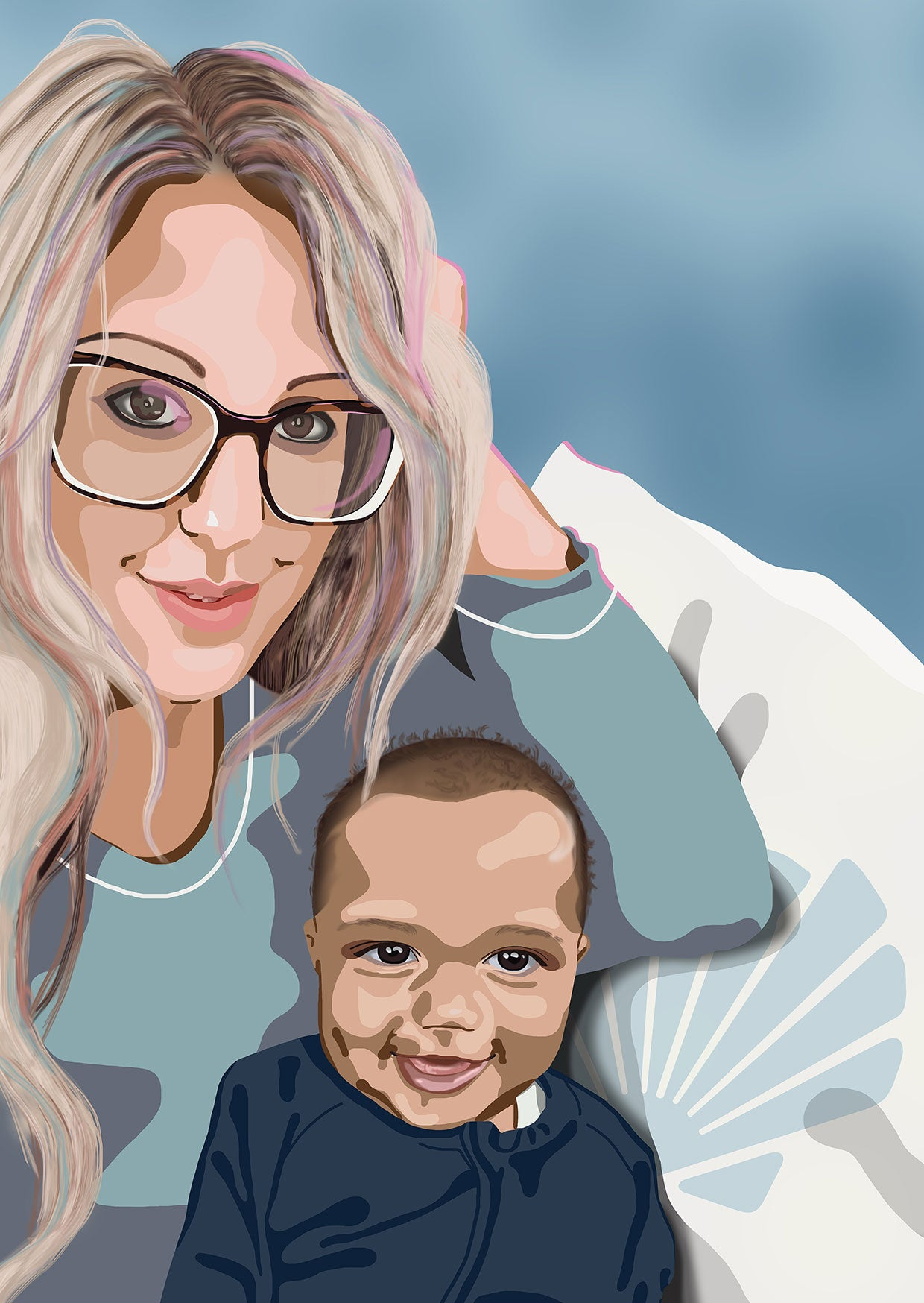Mother and baby digital portrait illustration gift for Mothers Day