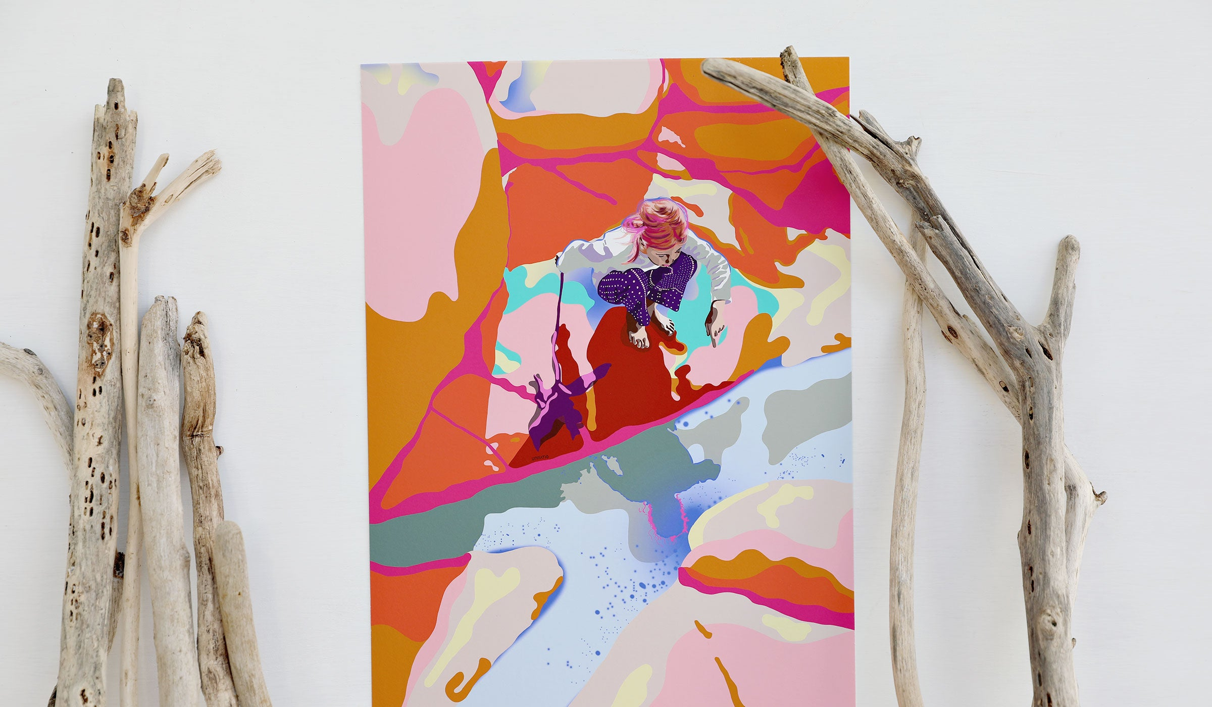 Bright colourful abstract digital illustration of a girl playing with a puddle of water