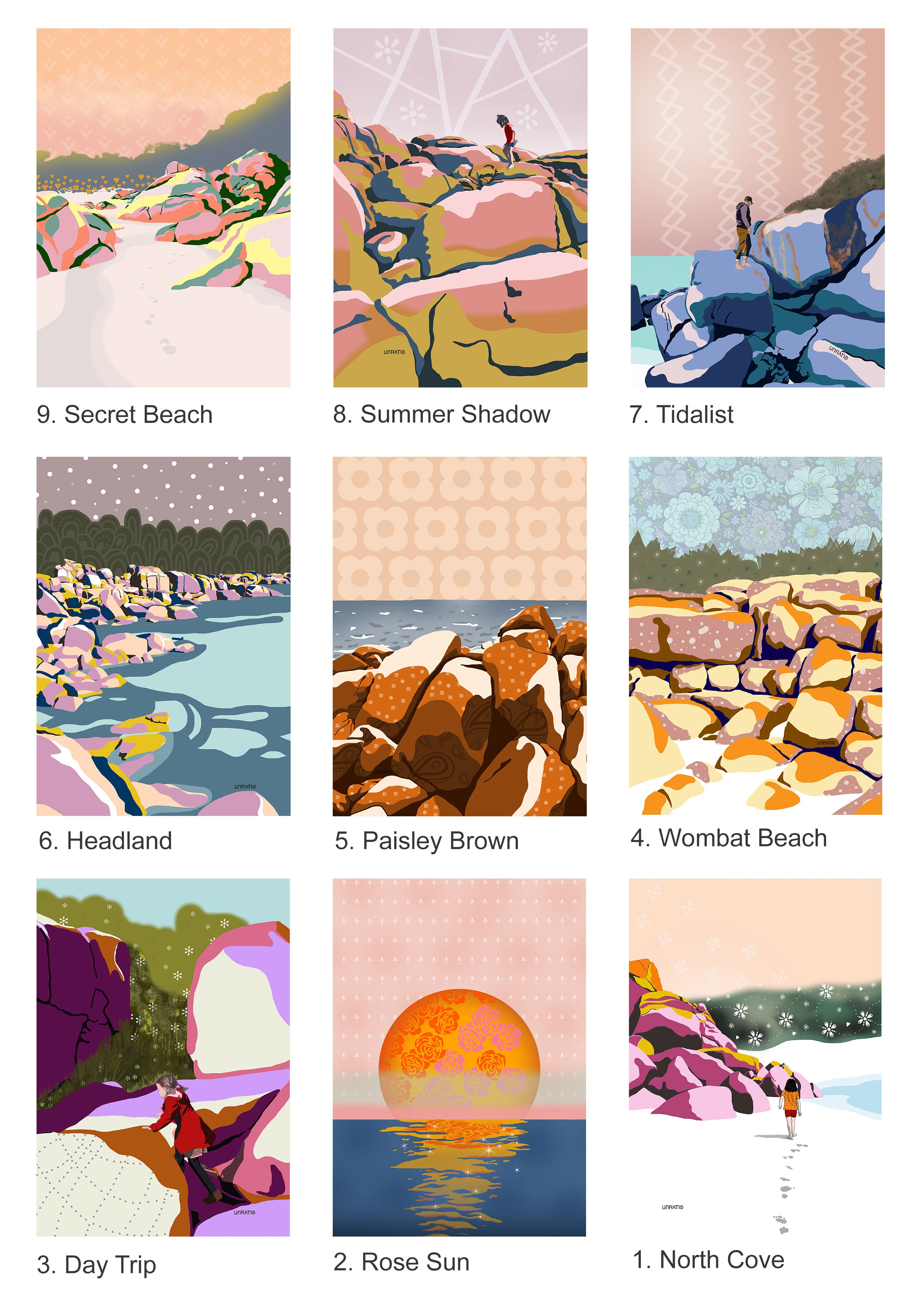 Catalogue of Abstract bright Australian beach illustration prints available for wholesale purchase