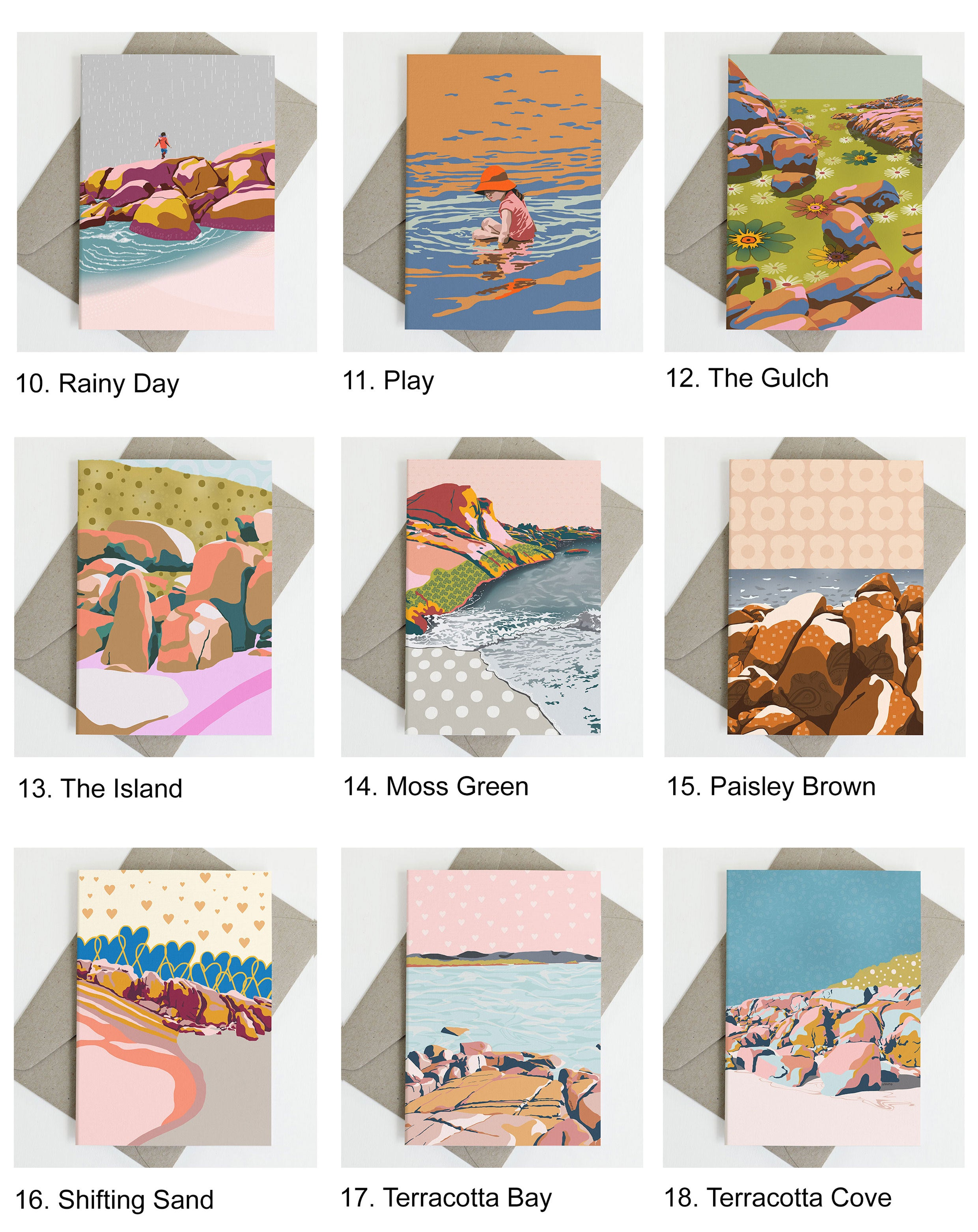 Catalogue of Beach Greeting cards from Australian illustrator