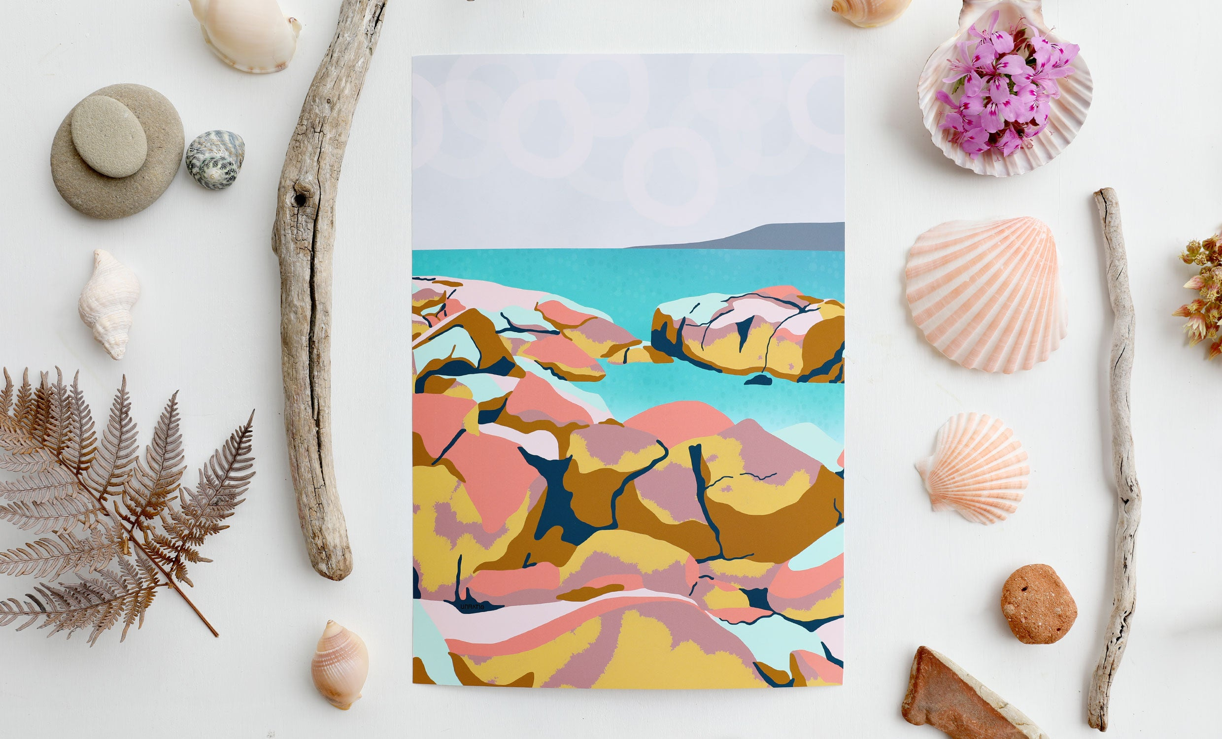 Abstract colourful beach illustration art print with a seashell nautical themed natural flatly