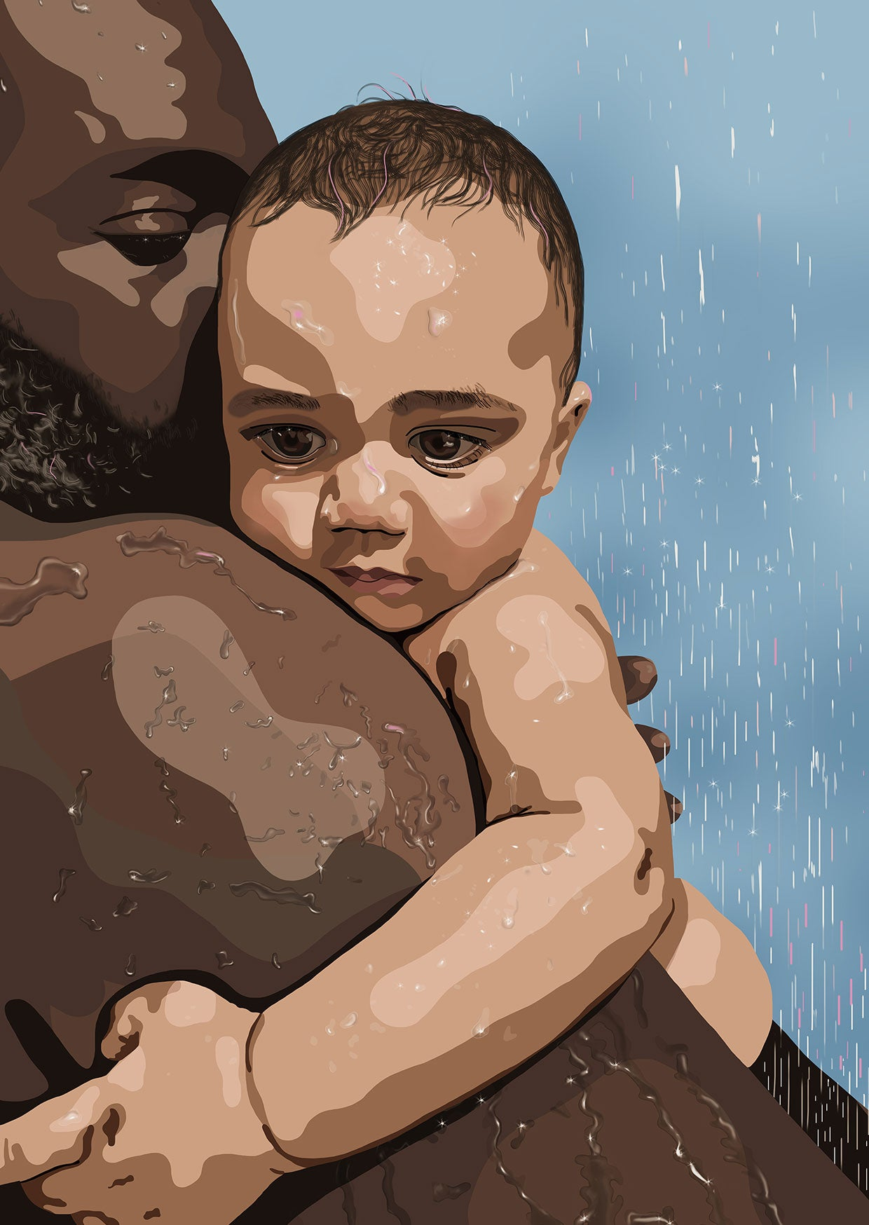 Digital portrait illustration of father holding baby son in shower