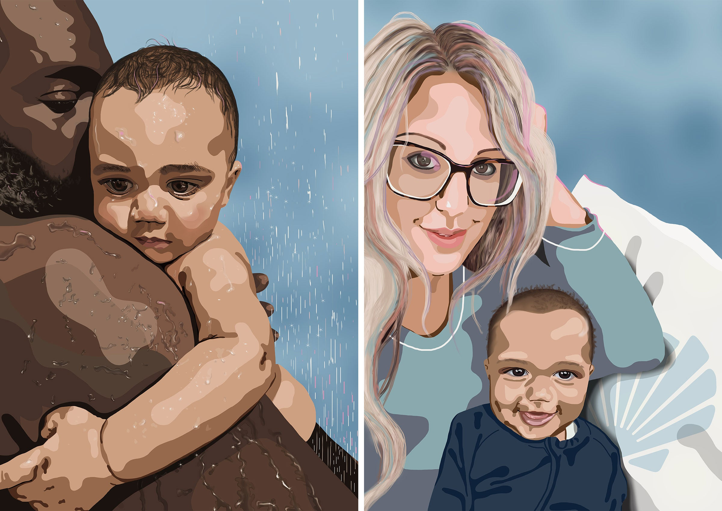 Custom family portrait illustration drawing from photo