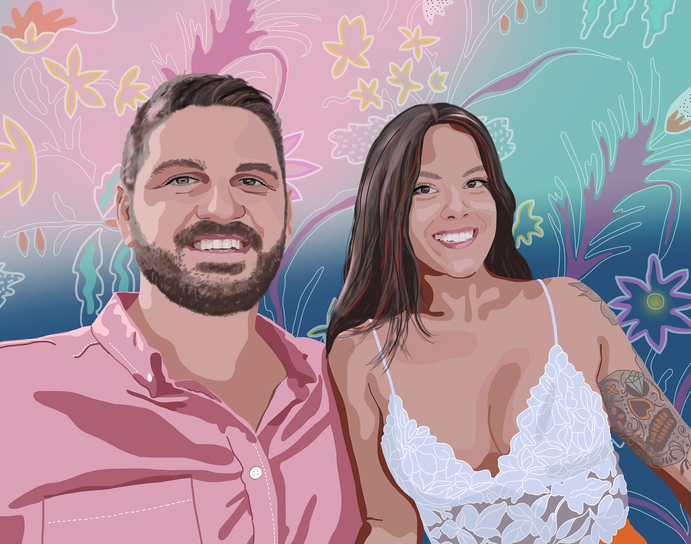 Custom couple portrait illustration drawing from photo