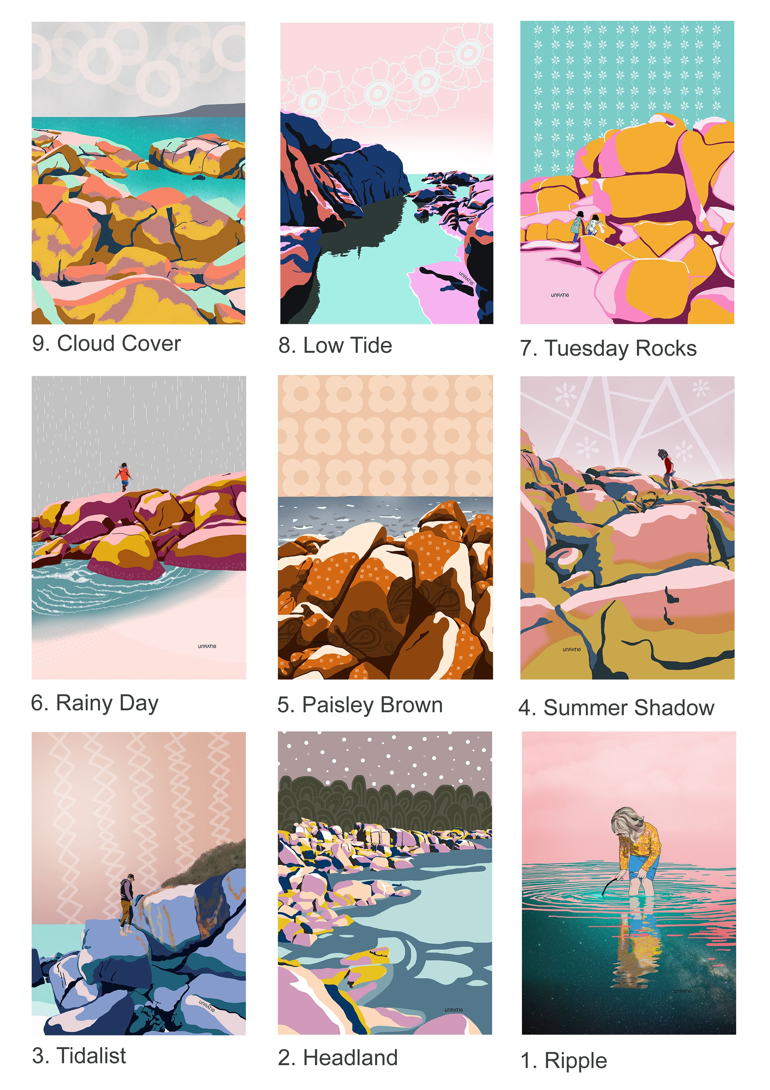 Australian modern illustration art print wholesale catalogue for boutiques and galleries