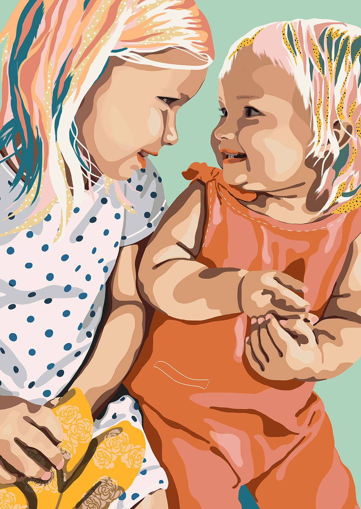 Digital portrait illustration of two young sisters