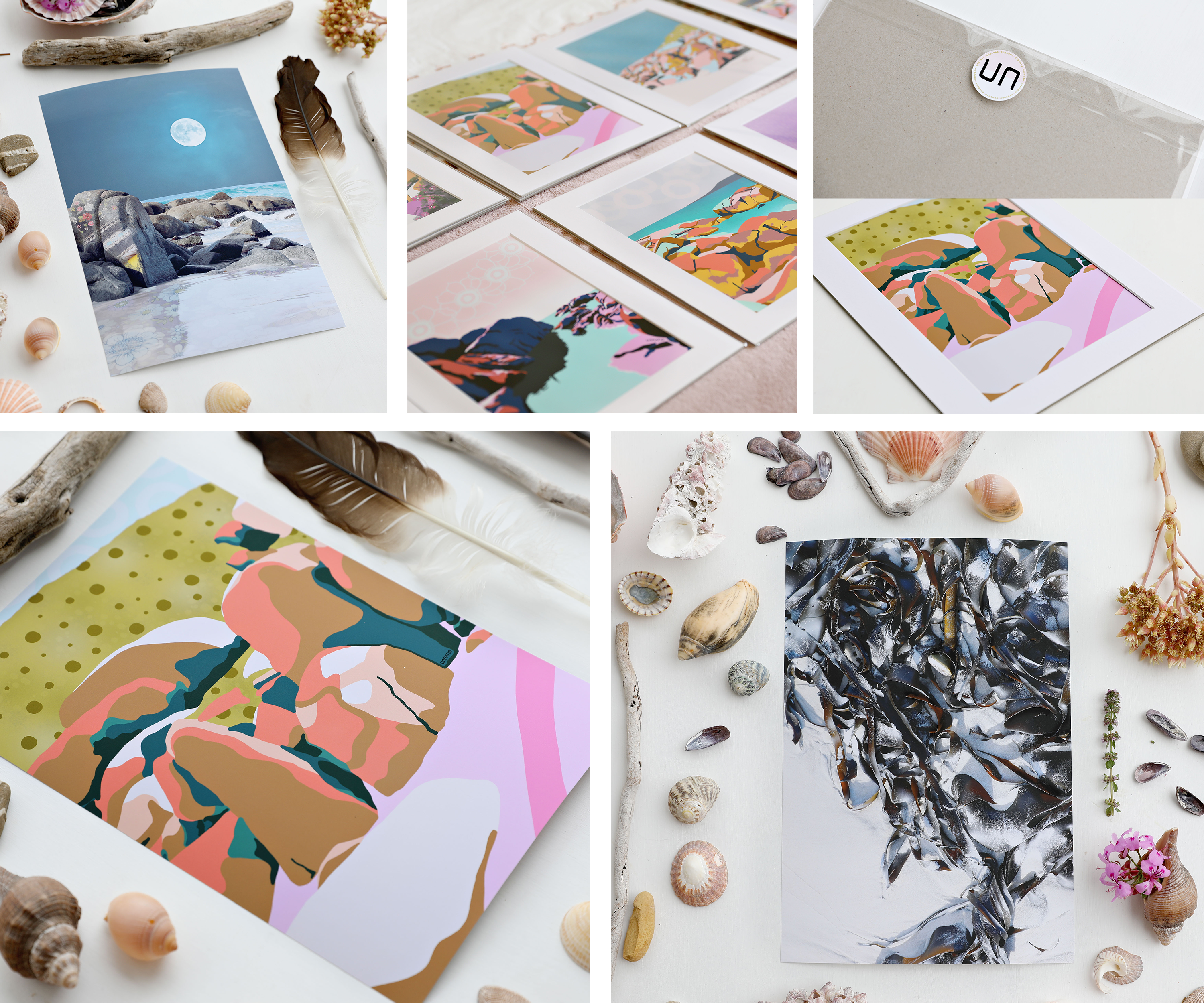 Upclose details of bright retro style beach illustrations art prints packaged for retail sale.
