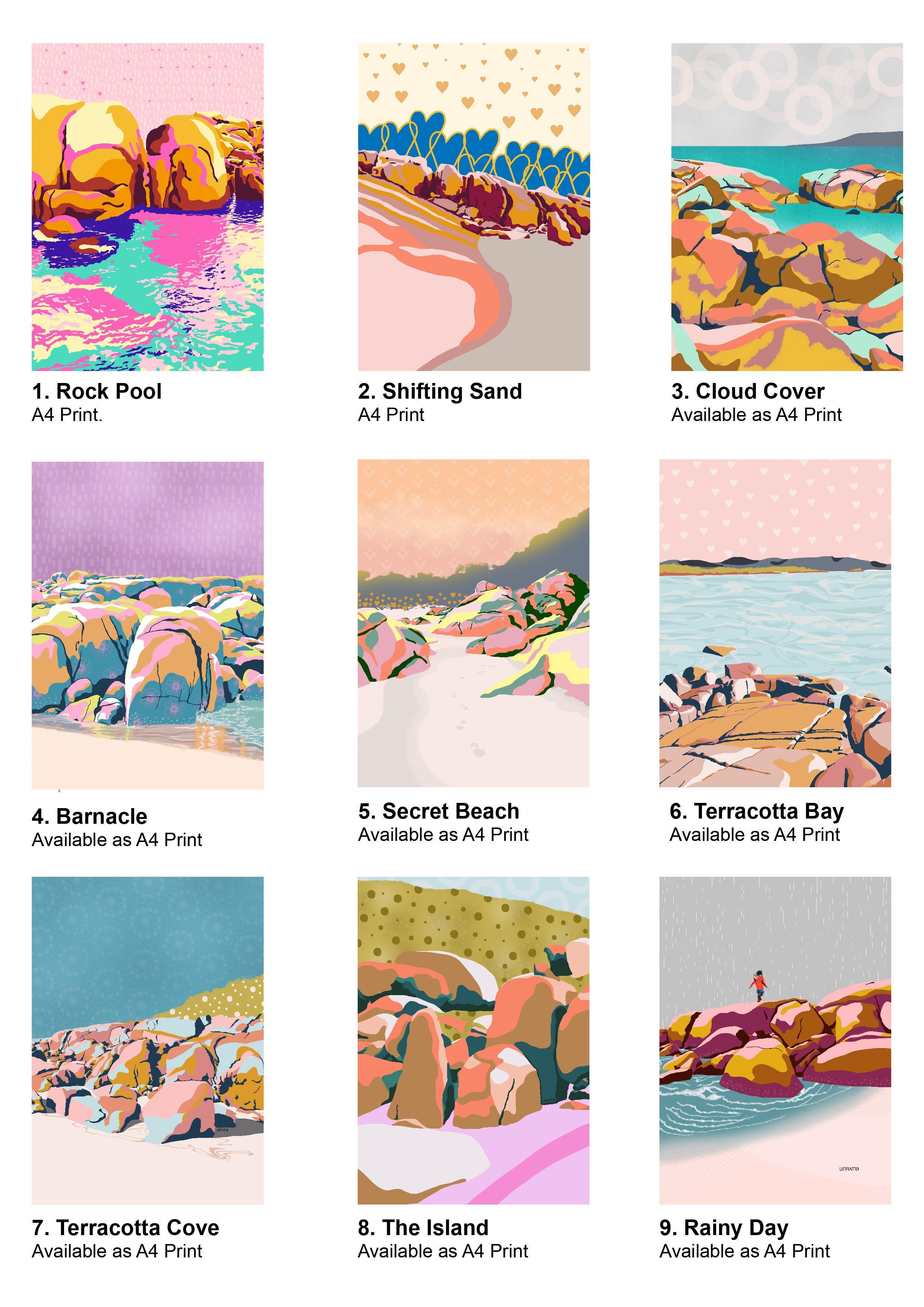 Australian artist wholesale catalogue for coastal art prints and greeting cards.