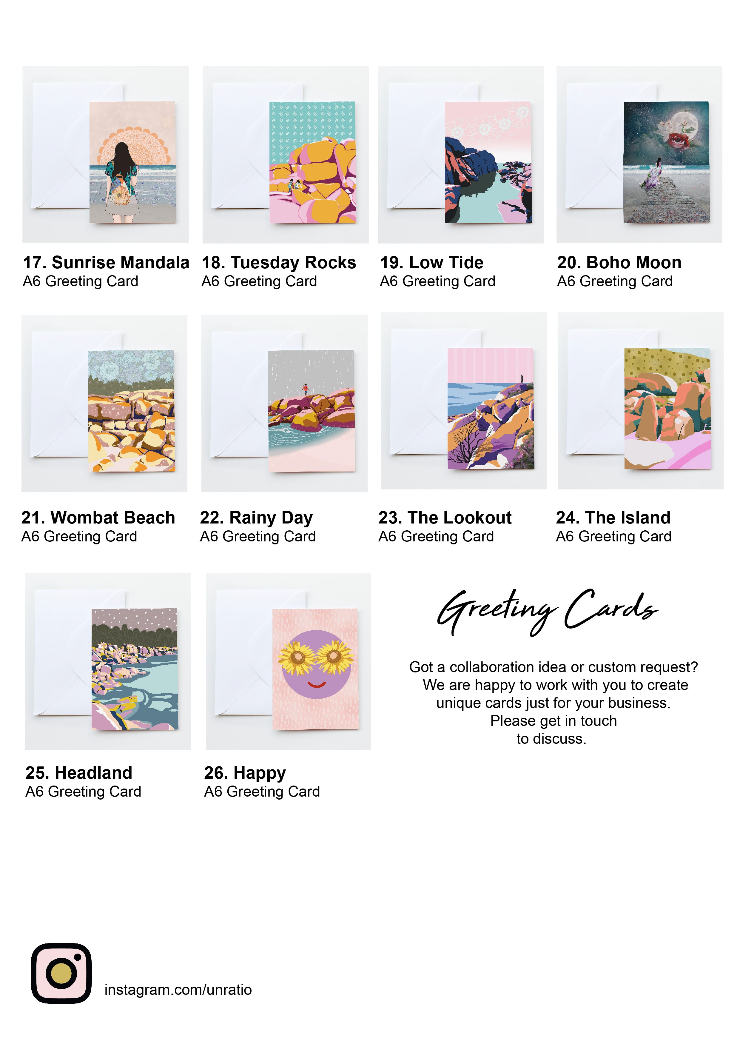Australian illustrated coastal themed greeting cards for wholesale purchase.