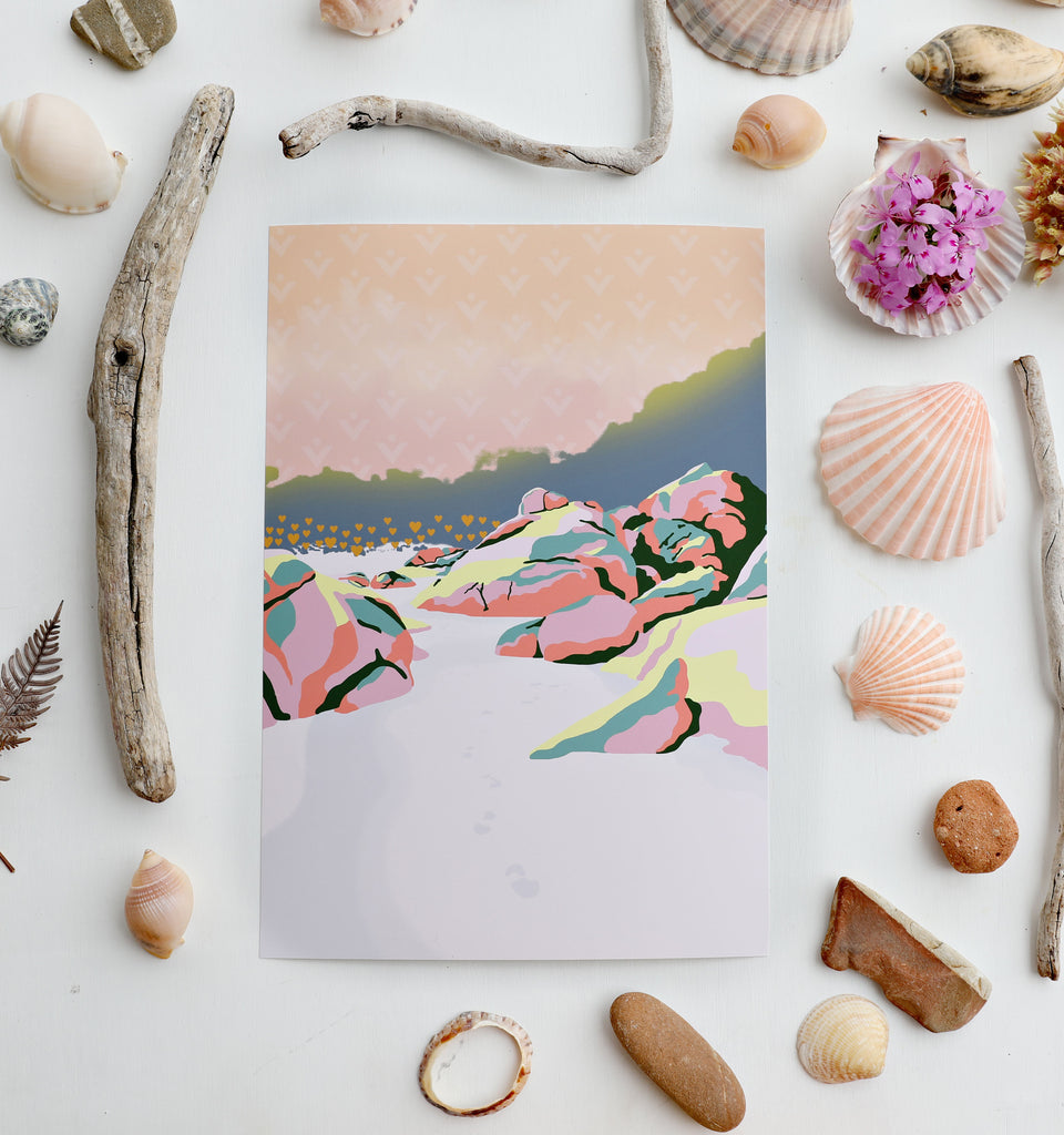 Abstract beach landscape illustration A4 print with a coastal themed seashell flat lay