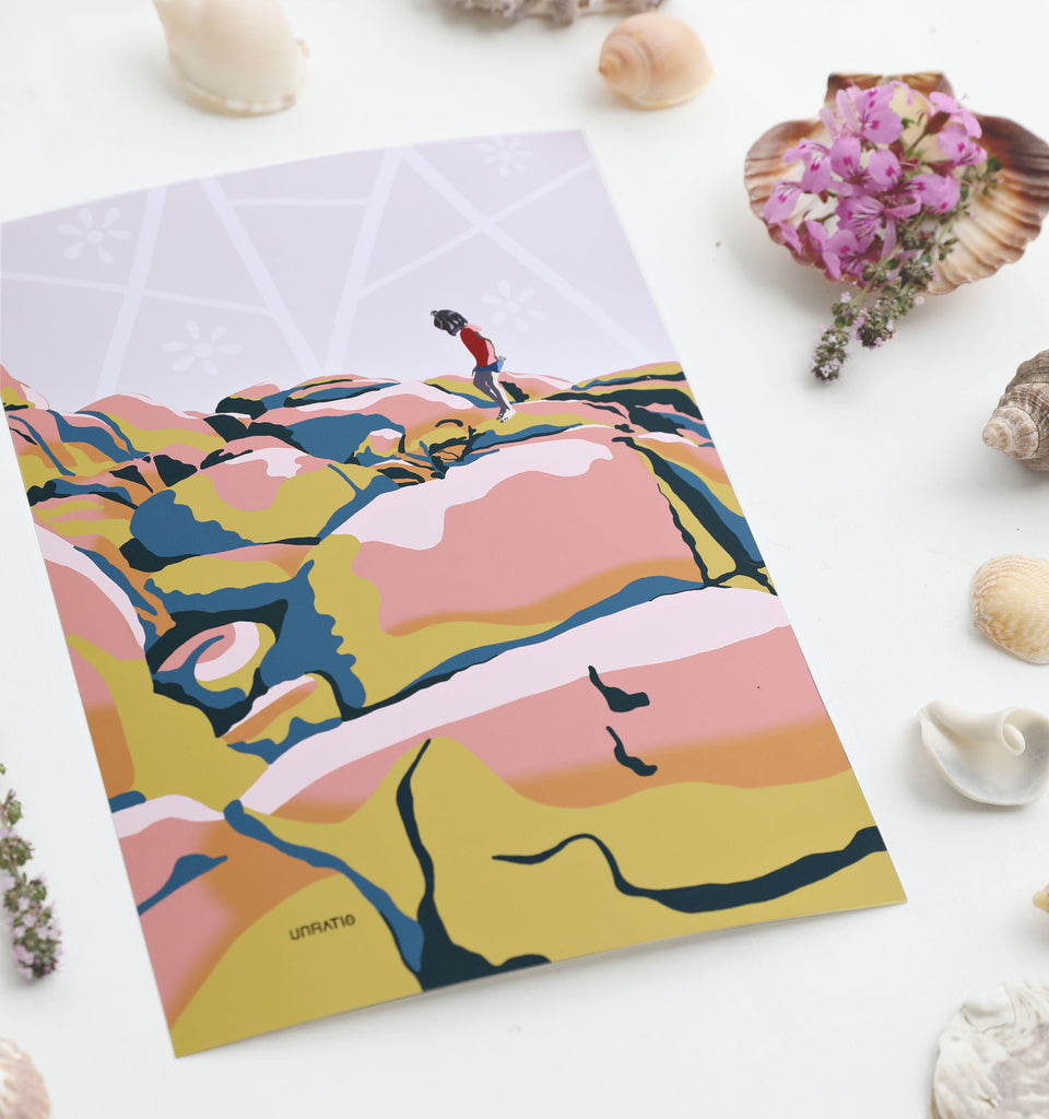 A4 modern boho beach drawing flatlay with purple flowers and sea shells on a white background.