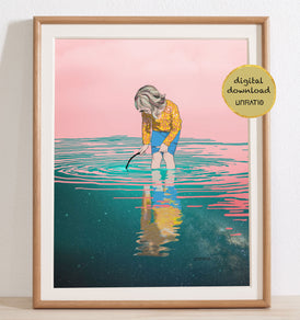 Blush pink and teal little girls illustrated beach print in wood frame.