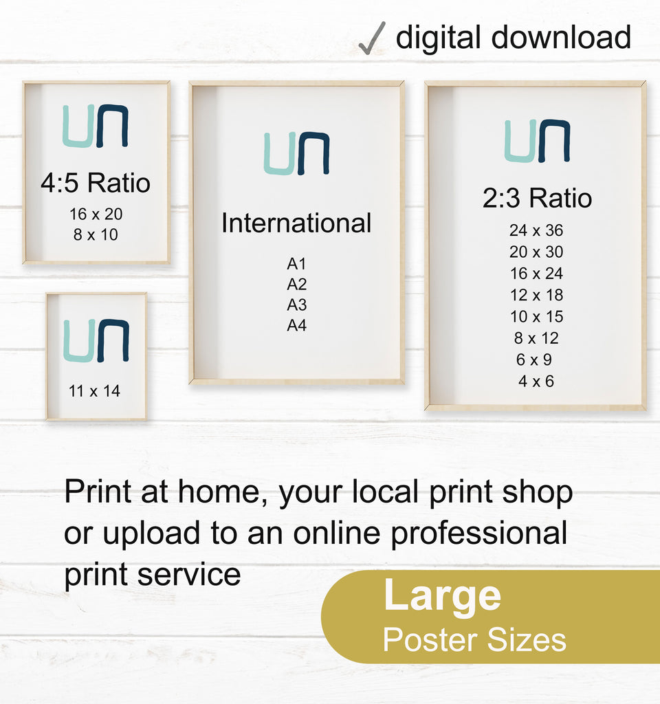 Diagram showing the four available print sizes.