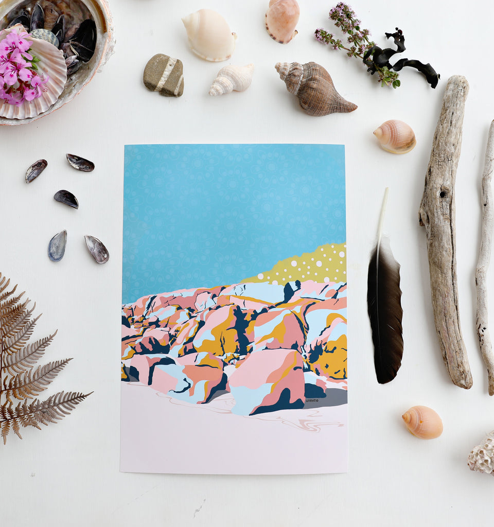 Flat lay of color block beach rocks illustration with coastal beach shells and driftwood.