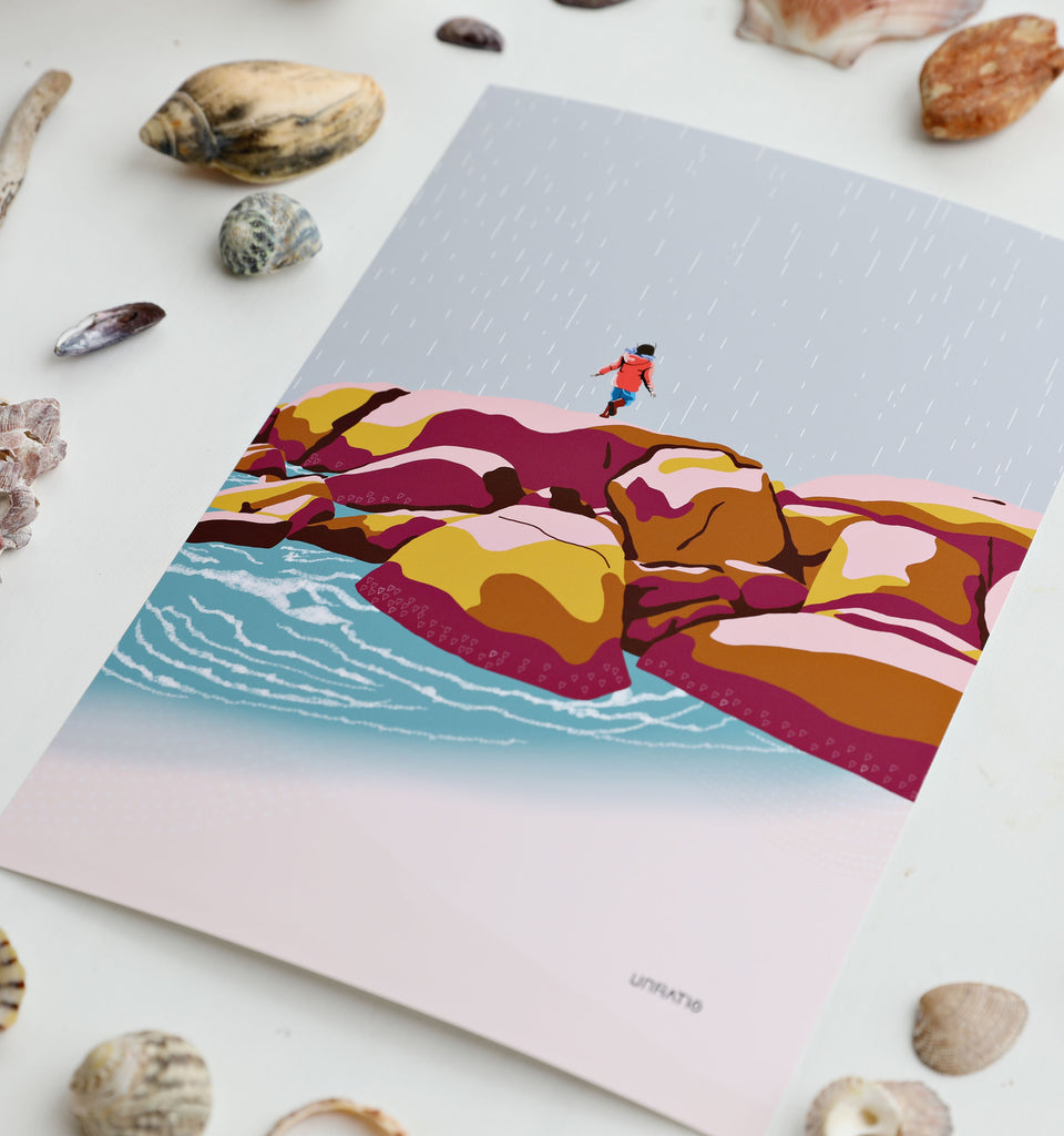A4 art print up close details of colourful retro beach kids illustration.