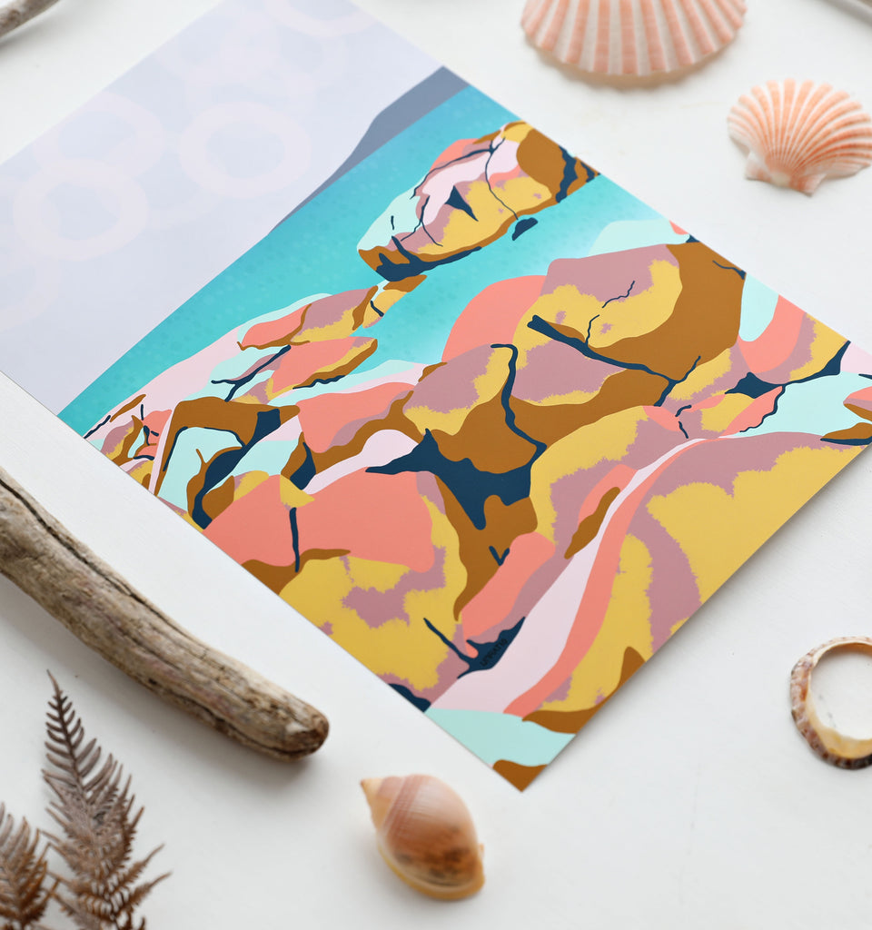 Up close details of contemporary color blocked beach illustration A4 art print