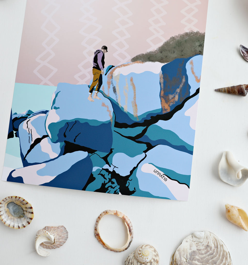 Up close details of a blue beach retro illustration flat lay next to sea shells.