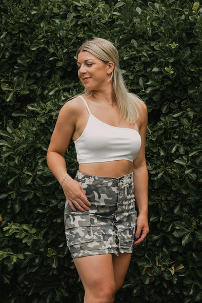 Camo Button Front Skirt