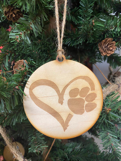 Puppy Heart Wood Ornament