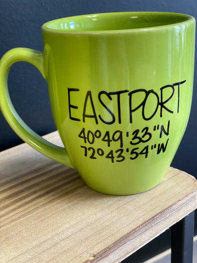 Eastport Coordinates Mug Lime Green