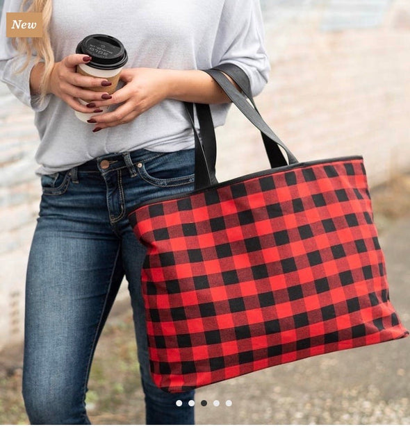 Take Me With You Buffalo Plaid Tote