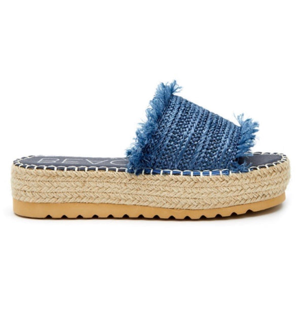Seashell Blue Raffia Sandals