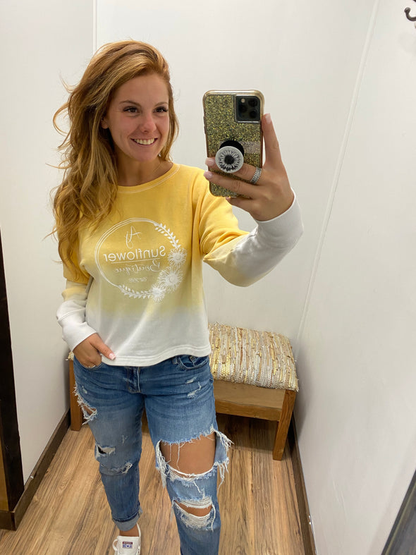 AJ Sunflower Cropped Crew