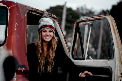 Red Plaid Accent Beanie