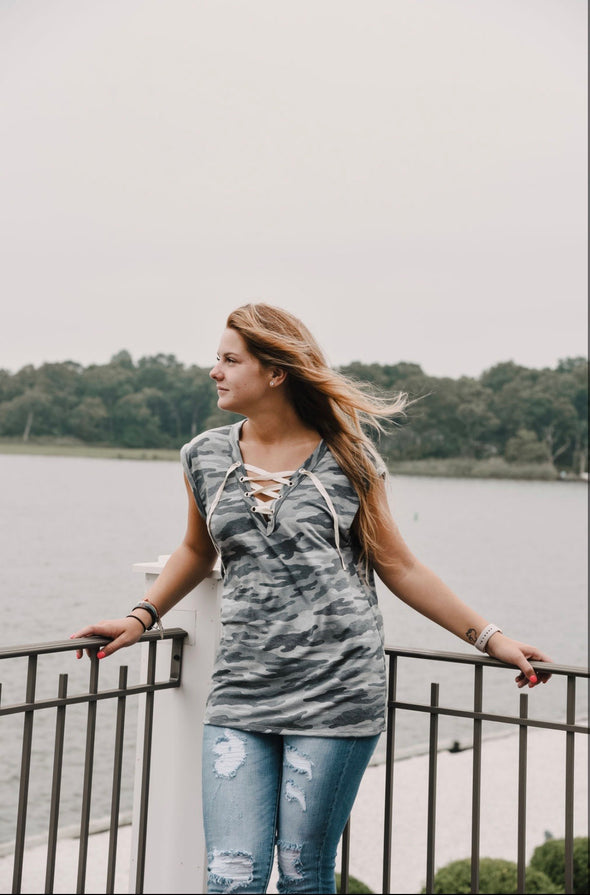 Camo Lace up Tank