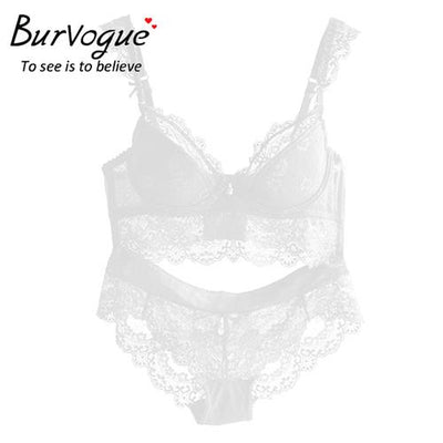 Burvogue New Lace Lingerie Bra Set Women Sexy Bra Set Push Up Bras Underwear Sets Plus size Adjustable Bras and Panties Set
