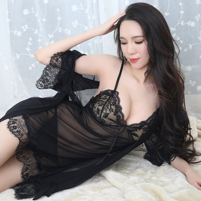 Summer sexy lace women's pajama set high quality deep-v 3 piece sleep set