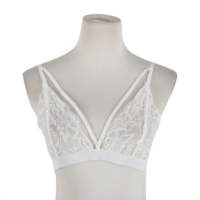 ab46c50bb9fc3 G34 Sexy Bra Floral Lace Wire Bra Bustier Sheer Top Seamless Bralette  Transparent Cup Wireless Bras
