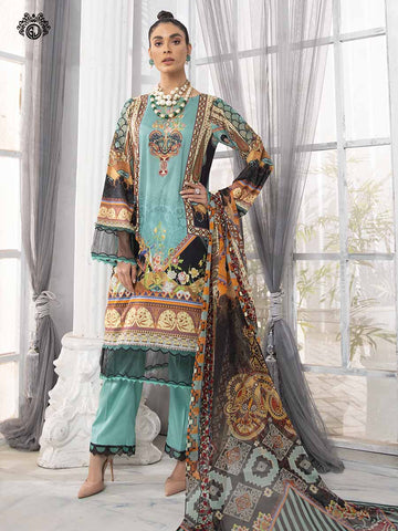 LUXURY DIGITAL EMBROIDERED NECKLINE WITH BAMBER CHIFFON EMBROIDERED BORING  DUPATTA RP2102A12