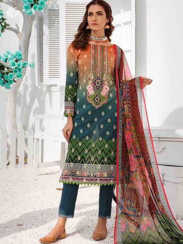 DARK OREHID PRINTED CAMBRIC COTTON EMBROIDERED TH022A2