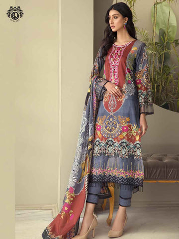 Luxury Digital Printed Embroidered Neck Fancy Lawn Embroidered Border Dupata GZG2101A2